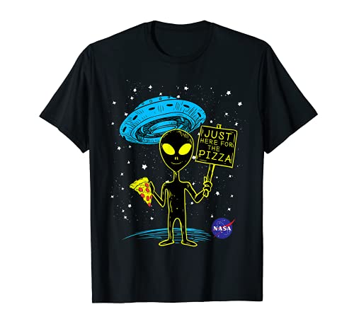NASA UFO Alien Just Here For The Pizza Graphic T-Shirt