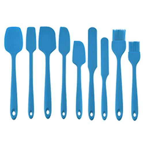 Juego De Utensilios De Cocina, Juego De Utensilios Cocina Silicona De 9 Piezas Espátula para Cocinar Pala Cuchara Fácil De Limpiar,Azul