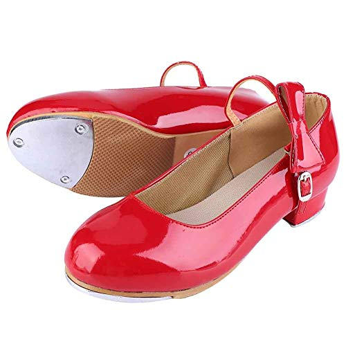 Tap Shoes - Fashion Girl Kid Tap Dance Scarpe da Ballo, Scarpe in Pelle PU Brillante, 1 Paio (Colore : Red, Taglia : 38)