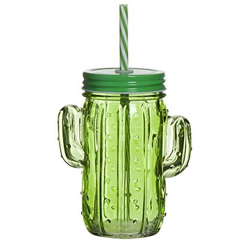 Bicchiere Jason in vetro con cannuccia cactus verde brocca con coperchio 14 cm