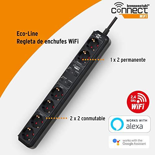 Brennenstuhl Connect regleta inteligente Eco-Line con 6 tomas programable (regleta WiFi, control por App o voz, aplicación gratuita, compatible con Alexa y Google Assistant) negro