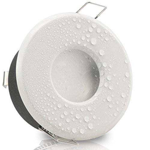 Decken Einbauleuchte MERANO IP65 rund Alu WEISS 12V 230V (ohne Leuchtmittel) Einbaustrahler für Bad, Dusche, Nassraum Feuchtraum Einbaustrahler innen außen LED Halogen