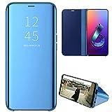 Eabhulie ASUS Zenfone 6 ZS630KL Custodia, Specchio Traslucido Clear View Flip Cover Custodia con Supporto di Stand per ASUS Zenfone 6 ZS630KL Blu