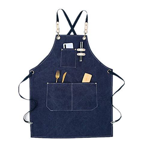 Delantal de chef de lona, ajustable, con 3 bolsillos, para cocinar, cocinar, mujeres, hombres, delantales para el hogar, cocina, barbacoa, restaurante, jardinero, alfarería, artistas, delantal azul