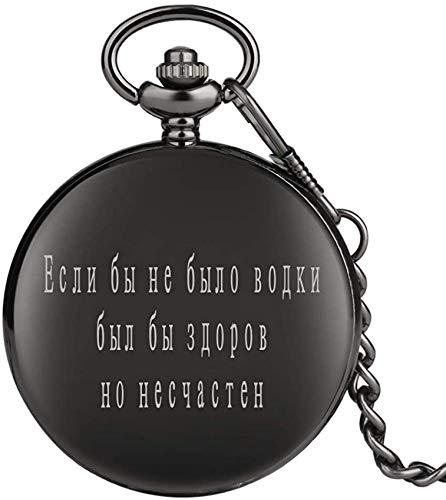 YQGOO Russische Kulturserie Taschenuhr für Jungen, Schwarze Taschenuhren für Männer, Klassische Dicke Gliederkette Anhänger für Jugendliche