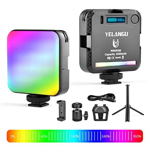 Fotolicht RGB, LED Videoleuchte mit Stativ, Clip, 360 °Gimbal, mit 2000 mAh Eingebautem Akku, Mini Dimmbare Foto licht 2500K-9000K, Kamera Licht für DSLR/Camcorder/Smartphone