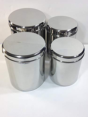 Qualways Jumbo Stainless Steel Kitchen Canister Set of 4 Set of 4 65 lb 5 lb 4 lb and 3 lb canister set
