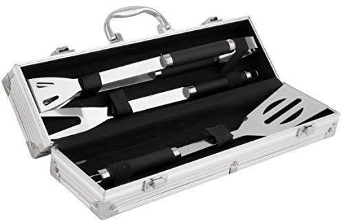 BigDean Edelstahl Grillbesteck-Set 3-teilig im Koffer 11,7 x 8,5 x 38,8 cm - mit Grillzange Grillwender & Grillgabel - Hochwertiges BBQ Grillset Grillzubehör