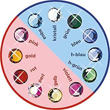 22 Stück Brilident Kristalle, Crystal, Ø ca. 2,0 mm, zum Aufkleben, Zahnschmuck Stein, Zahnschmucksteine Set, 12 sortierte Farben bunt + 10 x kristall klar, 22 Stück Strasssteine