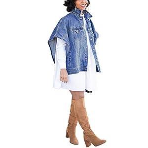 Women's Fashion Loose Denim Cloak Coats Washed Destroyed Denim Jackets Outerwear Vests