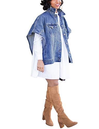 Women's Fashion Loose Denim Cloak Coats Washed Destroyed Denim Jackets Outerwear Vests 3