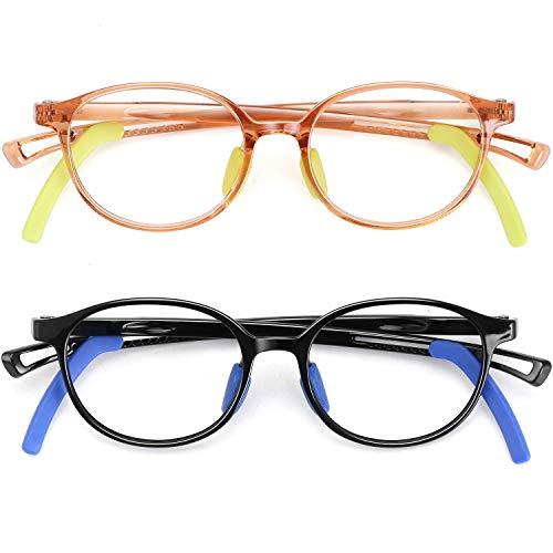 Gafas para niños con luz azul para niños y niñas irrompibles TR gafas de computadora anti fatiga ocular bloqueo azul Ray sin receta gafas falsas marco 2 unidades niños de 4 a 15 años (negro + marrón)
