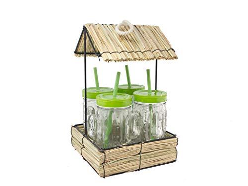 WELLGRO Tiki-Hütte mit 4 Trinkgläsern im Kaktus-Design - mit Deckel und Trinkhalm - 475 ml Füllmenge - ca. 18,0 x 18,0 x 30,0 cm (LxBxH)