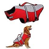 HJUMARAYAN: Chaleco salvavidas para perros, chaleco salvavidas visible con abrigo flotante, chaleco salvavidas para perros, tamaño ajustable, color rojo pequeño