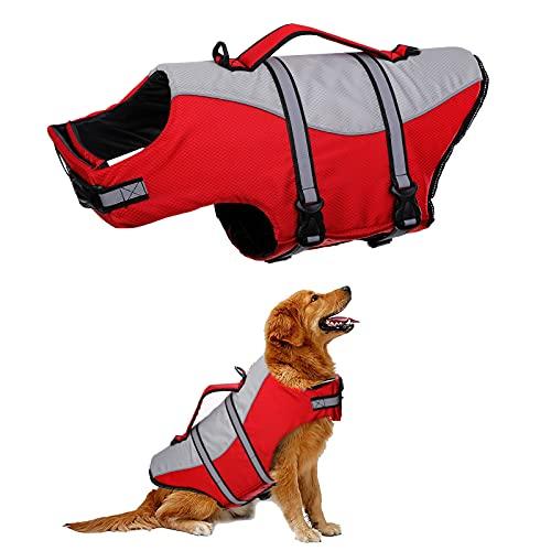 HJUMARAYAN: Gilet de sauvetage pour chien, gilet de sauvetage visible avec manteau flottant pour chien, taille réglable, rouge petit