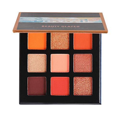 Beauty Glazed 9 Farben Schimmer Matt Lidschatten Palette, Stark Pigmentierte Lidschatten Palette Makeup Palette (2)