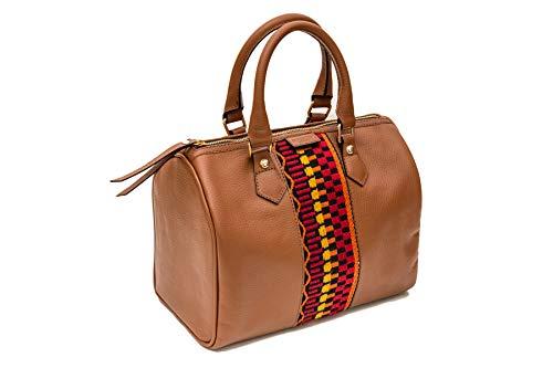 SOLTAKO APHRODITE | Hoogwaardige Dames Lederen Handtas Handtas Avondtas Lederen tas Handtas City Bag gemaakt van echt runderhuid met modieus canvas, klassiek & elegant
