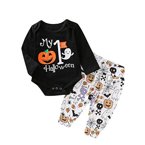 Baby Outfits Strampler Set Langarm Tops + Hose Casual Neugeborene Baby Halloween Kostüme Jumpsuits für Geburtstagsparty, für 0.3–1 Jahre alte Kinder Gr. 70 cm(3-6 Monate), Schwarz