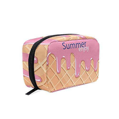 Hello Summer Drôle de crème glacée Sac Organisateur de Voyage Maquillage Sac à Glissière pour Les Femmes Fille Cosmétique Pochette de Rangement Personnalisé Sac de Toilette