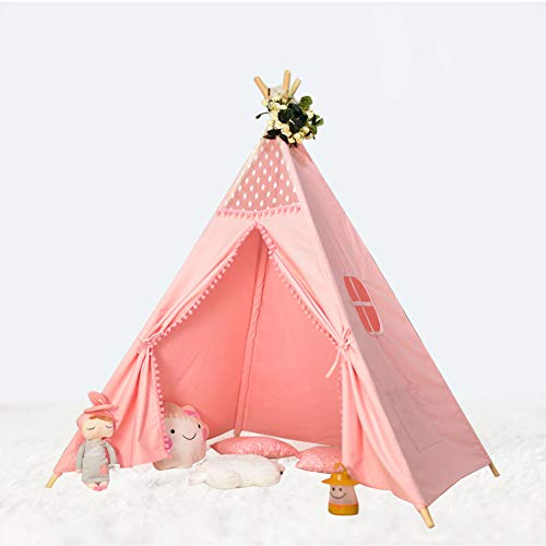 Kids Teepee Tent Foldable Children Play Tent - Deluxe 100% Cotton Canvas Play House Full Canvas Decoration. Indian Wigwam Tipi for Indoor Outdoor Climbers, Tough Built to Last. Perfect for Boys Girls
