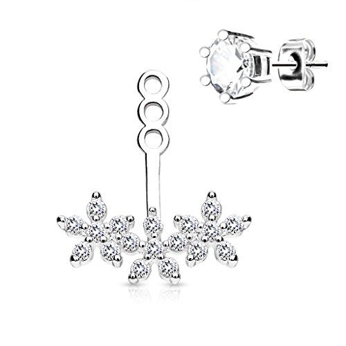 BlingKing - 1 Ohrstecker Ear Jacket Crystal Flowers - Ear Cuff/Schaukel-Ohrring/Pendel-Ohrring - Stecker + Anhänger - Silber