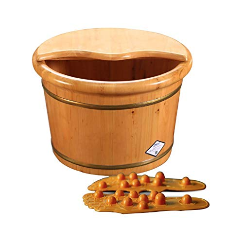 Sale!! NCHEOI Solid Wood Covered Foot Tub Best Choice for Healthy Foot Tub Wooden Small Tub Family (...