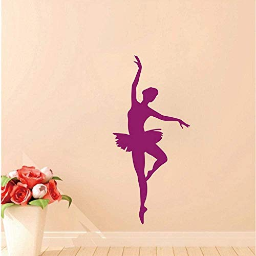 Muursticker behang sticker ballerina muursticker - balletdanzer muursticker - ballerina decor - ballet silhouet girls dance decal 90 * 44 cm