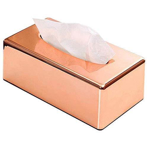 HYY-YY Caja de pañuelos para pañuelos de papel, elegante color oro rosa real, para el hogar, con forma de rectángulo, para pañuelos