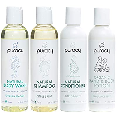 Puracy Organic Personal Care Travel Set (4-Pack), Natural Body Wash, Shampoo, Conditioner, Lotion Gift Box
