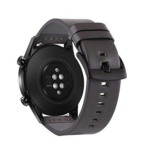 Romacci Bracelete para relógio de couro de grão superior de 22 mm Bracelete de substituição rápida para relógio inteligente com fecho de fivela para homens e mulheres compatível com HUAWEI WATCH GT 2 46 mm / HONOR MagicWatch 2 46 mm