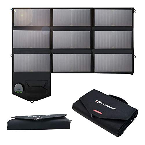 ALLPOWERS 60W Foldable Solar Panel with 18V DC Output for Suaoki Jacjery Goalzero Portable Generator, Laptops, 12V Car Boat RV Battery with 5V USB Output for Smartphone, and More