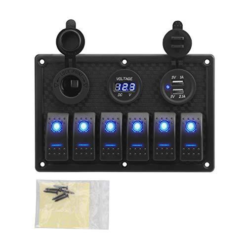 Yuchang LLPing 5/6 Panel de interruptores de Rocker Gang with Fuse 4.2A Dual USB Slot Socket Pantalla de Voltaje Digital Ajuste para camión de Coche Marino Impermeable pingpingyuan