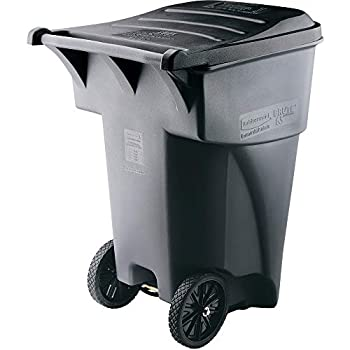 Rubbermaid Commercial Products BRUTE Rollout Heavy-Duty Wheeled Trash/Garbage Can - 65 Gallon - Gray