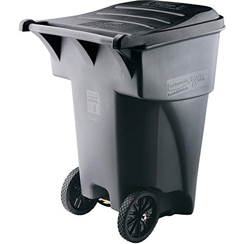 Rubbermaid Commercial Products Brute Rollout Heavy-Duty Waste Container, Square, Polyethylene, 95 Gallons, Gray (9W22GY)
