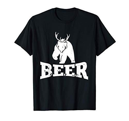 Beer Bear Deer Geschenk für Jäger Hirsch Reh Bier Party T-Shirt