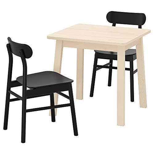 RÖNNINGE/NORRÅKER tavolo e 2 sedie 74x74 cm betulla nero