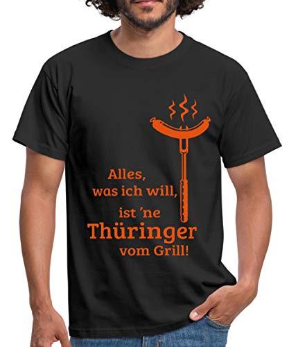 Grillen Ich Will Thüringer Bratwurst Vom Grill Spruch Männer T-Shirt, L, Schwarz