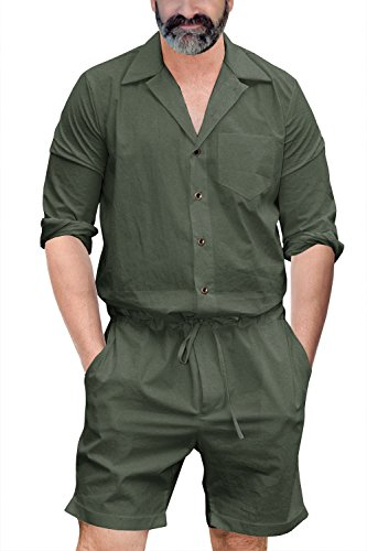 Runcati Mens Romper Jumpsuit One Piece Long Sleeve Drawstring Shorts Casual Playsuit Plain Coverall with Pockets