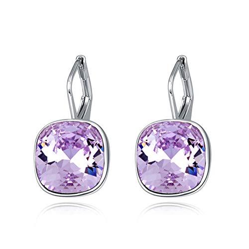 Yiyu Ohrringe Mit Kristalle Von Swarovski Silber Viele Farben Sommer x (Color : Purple)