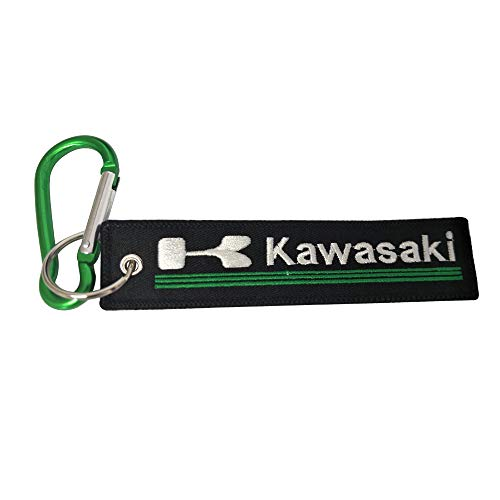 Pasdec 1x Stitching Fabric Tag Keychain with Aluminum D Shape Carabiner Green Color Clip Hook Motorcycles Bike Biker Key Chain Compatible Fit Use for Kawasaki