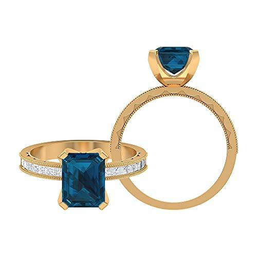 Anillo milgrain de oro de 3 quilates con solitario de topacio azul Londres y piedra lateral moissanita (calidad AAA), 14K Oro amarillo, Size:EU 58