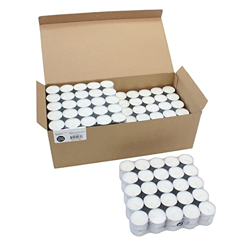 Stonebriar 300 Pack Unscented Tea Light Candles with 6-7 Hour Extended Burn Time, White, 300 Count