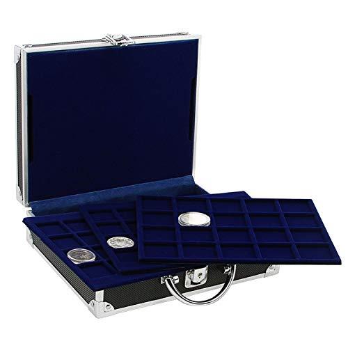 SAFE 9801 ALU Münzkoffer schwarz | inkl. 6 Tableaus für 200 Münzen Durchmesser 19, 22.5, 27, 33, 41 mm | Für 2 Euro Münzen, Gedenkmünzen UVM.