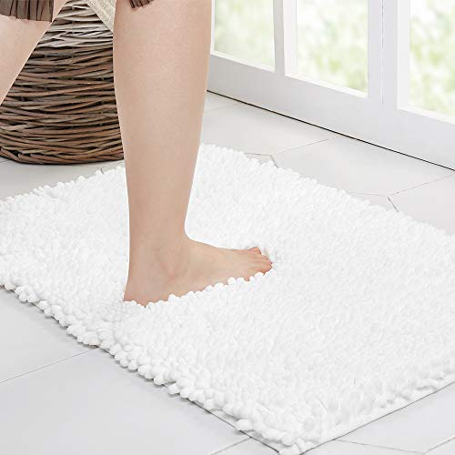 Walensee Bathroom Rug Non Slip Bath Mat (24x17 Inch White) Water Absorbent Super Soft Shaggy Chenille Machine Washable Dry Extra Thick Perfect Absorbant Best Small Plush Carpet for Shower Floor