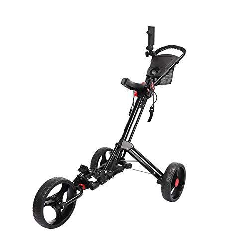 ZXSZX Golf Trolley Faltbares Design Mit Regenschirm 3 Räder Ständer Golf Push Pull Cart Bag Carrier Golf Trolley Mit Getränkehalter,Black