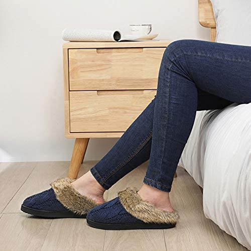 UltraIdeas Women's Soft Yarn Cable Knit Slippers