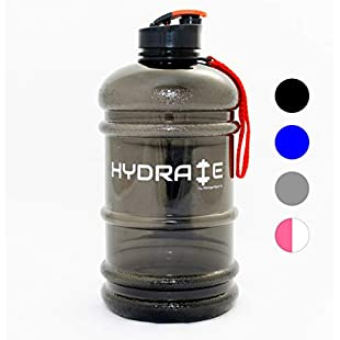 Hydrate 2.2 Litre Water Bottle - Now With Easy Drink Cap - Durable & Extra Strong - BPA Free - Ideal for Gym, Dieting, Bodybuilding, Outdoor Sports, Hiking & Office - 100% Satisfaction:Ege17ru