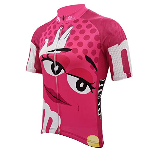 ZWW Frau Rosa Lustige Radtrikot Sommer-Breathable Quick Dry Anti-Shrink Short Sleeve Bike Wear Jersey Straßen-Jersey-Fahrrad-Tuch (Color : Pink, Größe : 6XL)