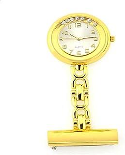 Barir Nurse Pocket Watch Unisex Nurse Watch Brooch, Nurse Doctor Watch Nurse Lapel Pin Watch Clip-on Hanging Nurse Pocket Watch Digital (Color : Gold),Colour:Gold (Color : Gold)