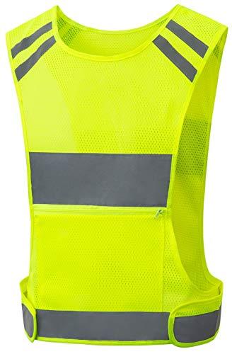 Reflective Vest Running Gear with Large Pocket, Adjustable & BreathableSafety Vest for Walking, Cycling,Jogging, High Visible Running Vest for Men and Women